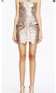 Ladies SHILLA THE LABEL Eclectic Gold Sequin Mini Tube Dress. New $189