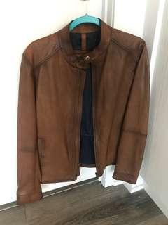 Tan leather jacket from Massimo Dutti