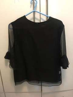 🍎韓國黑色中袖上衣