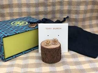 Tory Burch Golden Crystal Logo Circle Stud Earrings