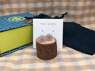 Tory Burch Silver Crystal Logo Circle Stud Earrings