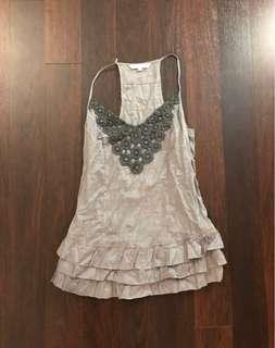 Beaded and pleated detailed tank top