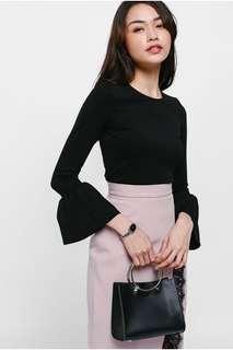Love Bonito black flare sleeve top