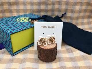 Tory Burch White Flower Motif Stud Earrings