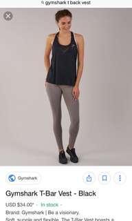 Gymshark T Bar Vest Black Small