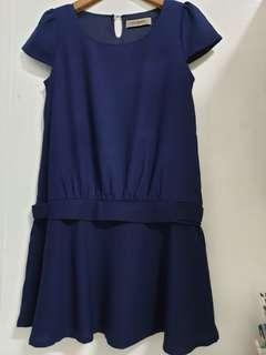 🚚 百貨公司專櫃品牌 CUMAR 靛藍色 造型洋裝 M號 賣場三件免運