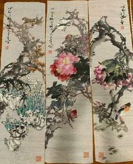 China painting Birds and beautiful Floral