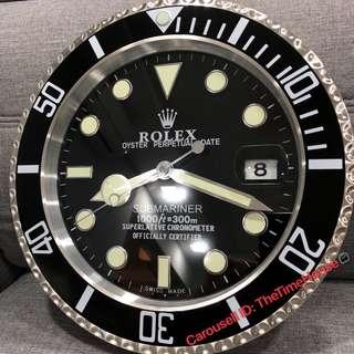 Rolex Black Submariner with Cyclop Wall Clock