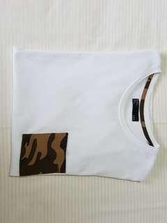 Bershka camo pocket tee/H&M oversized white tee