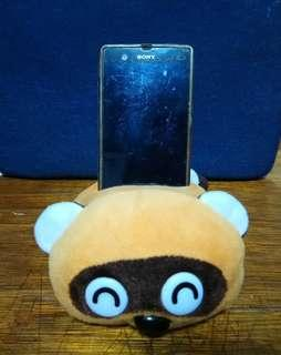 Racoon plush mobile/phone holder