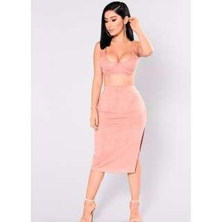 Fashion Nova- Tala Suede Set