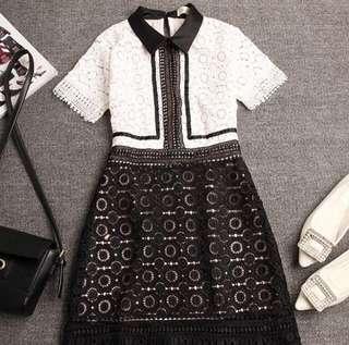 BNWOT Classy Black & White Lace Dress