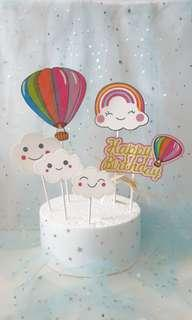 Happy Birthday Hot Air Balloon & Clouds Cake Toppers