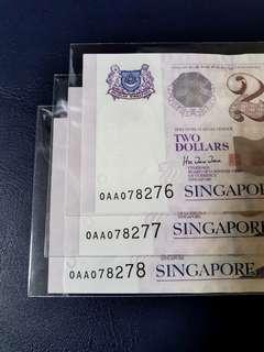 🇸🇬 OAA First Prefix Singapore Portrait Series $2 Paper Banknote Sign HTT~3pcs Consecutive Number