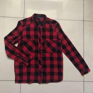 Bershka red and black checkered longsleeves polo shirt