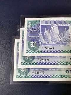 🇸🇬 Z1 Replacement Singapore Ship Series $1 Banknote~3pcs Consecutive Number