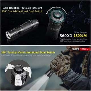 (Free Deliery_1,800 Lumens) Klarus 360X1 Rechargeable Tactical Flashlight
