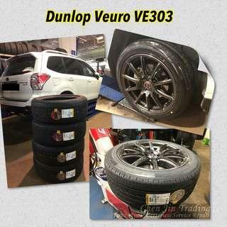 Car tyres, Dunlop Veuro VE303, japan made, premium comfort tyre