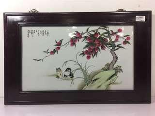Hand Painted Porcelain Plaque w/ Hardwood Frame