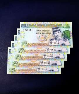 (Reserved)🇧🇳 Brunei 3rd Series $5 Banknote~5pcs Consecutive Number~Include 1pcs Double Repeater Number 778811