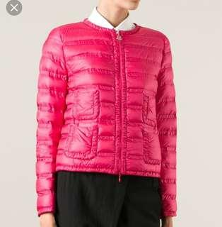 真品Moncler經典小香風桃紅色00號薄款羽絨外套