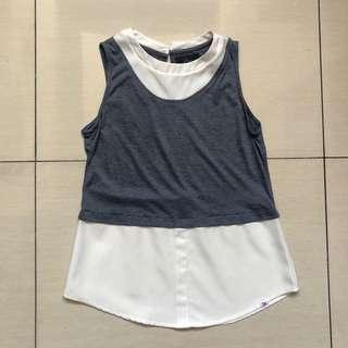 Plains and Prints grey and white top