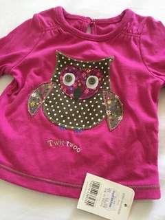 Mothercare Owl patchwork Girls Shirt Top #MFEB20