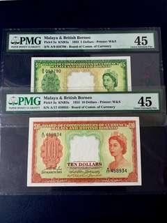 👸 1953 BOCOC Malaya & British Queen Elizabeth II $5 & $10 Banknote~PMG 45 Choice Extremely Fine