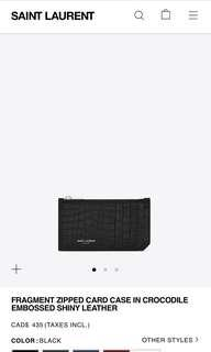SAINT LAURENT FRAGMENT ZIPPED CARD CASE IN CROC EMBOSSED