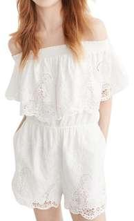 Brand new Abercrombie & Fitch white lace off shoulder romper