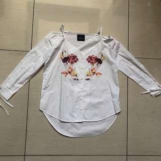 Plains and Prints Brieh white long sleeves top