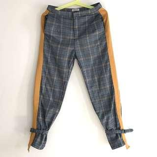 FashionValet Plaid Pants w Yellow Stripes