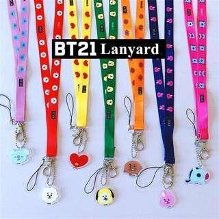 KPOP BTS BT21 Phone Holder Neck Strap Card Bag Rope Lanyard