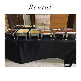 CHAFING DISH / BUFFET SETS,  TABLE , STOOLS & TABLE SKIRTING FOR RENTAL ( HALAL )