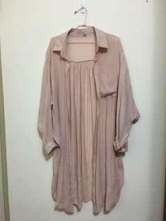🚚 藕粉色長版防曬罩衫外套