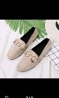 1cm high light brown suede leather shoes