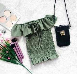 Olive green off shoulder