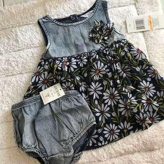 🚚 BN Guess Baby Girl Floral Denim Chiffon Dress With Diaper Cover 12mths!