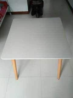 Table, 80cm square, wgite, good condition, metal frame, wooden legs