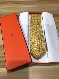 真品有盒 Hermes tie 黃色 男裝領呔