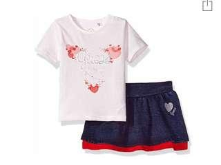 🚚 BN Guess Baby Girl Tee and Skirt Two Piece Set 12mths!