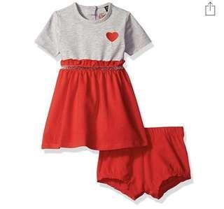 🚚 BN Guess Baby Girl Heart Heather Grey Dress 12mths!