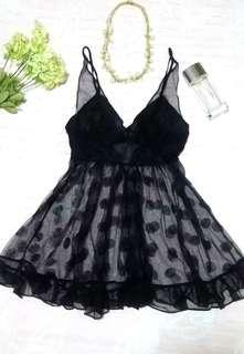 """Betsy Johnson"" Black Dotted Tulle Babydoll"