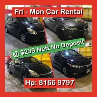 Weekend / Weekday Cheap Car Rental No Deposit