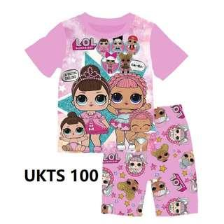 LOL Surprise Purple Short Sleeve Tshirt/Shorts Set for ( 2 to 7  yrs old)