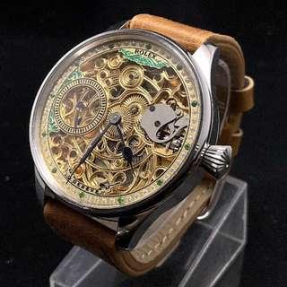 ROLEX Men's Antique Skeleton Watch / Pocket Watch Gold x Silver Gold