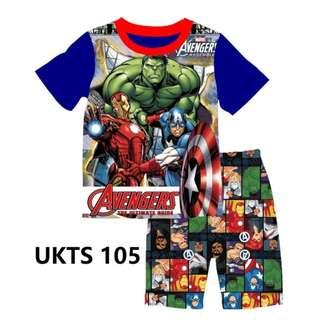 Avengers Blue Short Sleeve Tshirt/Shorts Set for ( 2 to 7  yrs old)
