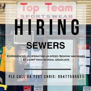 Experienced Sewers Needed
