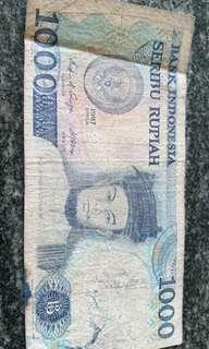 Indonesia old note $1000 1987