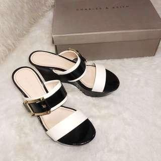 CHARLES & KEITH C&K CNK CK Buckle Double Straps Chunky Platform Wedges Sandals (Black)